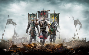 Игры: For Honor, викинг, самурай, рыцарь, флаги, поле боя