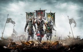 Игры: For Honor, викинг, самурай, рыцарь, флаги, поле боя