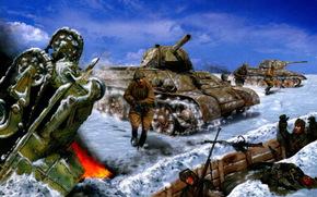Оружие: арт, Танки Т-34-76, Солдаты, война, «Смерть фашистским оккупантам!., Сталинградская битва  19 ноября 1942 года, Валерий Петелин