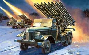 Оружие: арт, Катюша, Ведет огонь, БМ-13, Война