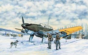 Авиация: арт, Самолет, Люфтваффе, Зима, Junkers Ju-87B-2.U4 Stuka