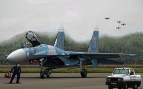 Авиация: арт, Самолет, Россия, Russian Su-27 Flanker B