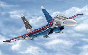 Авиация: арт, Россия, Самолет, Russian Su-27UB Flanker C