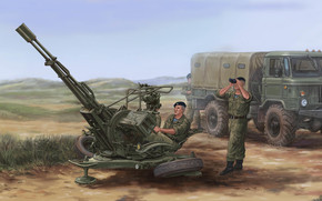 Оружие: арт, Russian ZU-23-2 Anti-Aircraft Gun, Солдаты, Газ-66