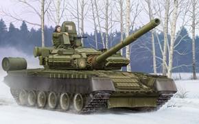 Оружие: арт, Танк, Зима, Россия, Tank T-80BV