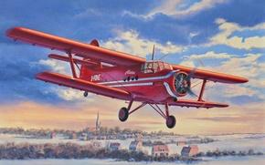 Авиация: арт, Самолет, Кукурузник, Ан-2, Полет