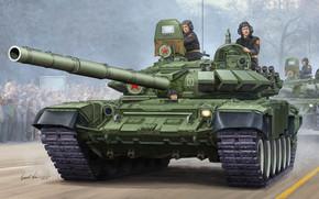 Оружие: Т-72Б, ОБТ, модернизированный вариант Т-72А, вооружение 9К120 Свирь, динамическая, защита, калибр пушки, 125-мм, пусковая, установка, 2А46М, Парад Победы, Россия, художник, Vincent Wai