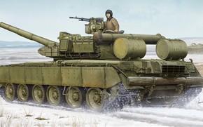 Оружие: арт, Танк, Танкист, Зима, Россия, Т-80 БВД