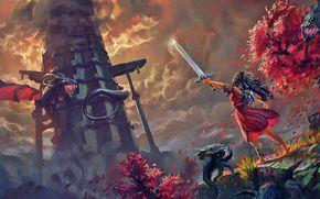 Игры: Toren, taking a climb, girl, sword, dragon, fighting, dusk