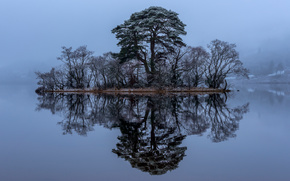 Пейзажи: Loch Awe, Scotland, Лох-О, Лох-Эйв, Шотландия, озеро, островок, деревья, отражение