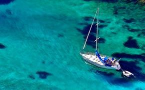Корабли: яхта, лодка, море, вода