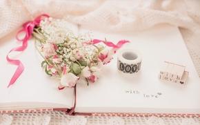 Стиль: цветы, букет, розы, тетрадь, надпись, винтаж