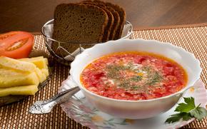 Обои Разное: борщ, сметана, зелень, хлеб, сыр, помидор, тарелка, ложка, суп, еда