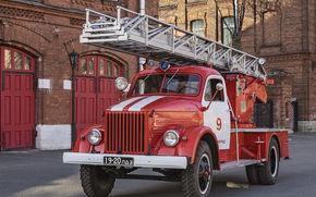 Машины: газ-51, советская, пожарная, машина, газ, техника, ссср, грузовик