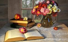 Разное: книга, кувшин, цветы, яблоко, окно, стол