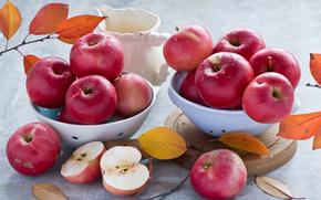 Обои Разное: яблоки, ветки, листья, яблоко, еда, кувшин