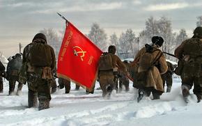 Разное: Война, Солдаты, Снег, Флаг, СССР, Серп и молот, Армия