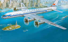 Авиация: Ту-114, советский, турбовинтовой, пассажирский, самолёт, Аэрофлот, СССР, авиация, город, Нью-йорк, рисунок