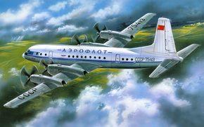 Авиация: рисунок, самолет, Ил-18, Ильюшин, аэрофлот, пассажирский, СССР