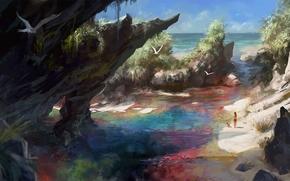Разное: рисунок, скалы, море, пляж, чайка