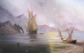 Разное: Милюков, Александр, Рассвет на море, пейзаж, солнце, рассвет, Крым, Россия, море, корабль, лодки, парус, горы, красота