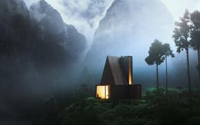 Пейзажи: вечер, горы, туман, дымка, домик, окно, огонь, мужчина, зонтик, романтика