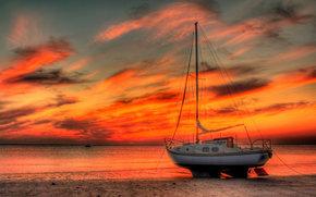 Корабли: яхта, море, закат
