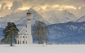 Оружие: Sankt Coloman, Schwangau, Bavaria, Germany, Alps, Церковь Святого Кальмана, Швангау, Бавария, Германия, Альпы, церковь, горы, деревья, зима