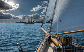 Корабли: Portland, Maine, Casco Bay, Портленд, Мэн, залив Каско, парусник, шхуна, паруса, залив