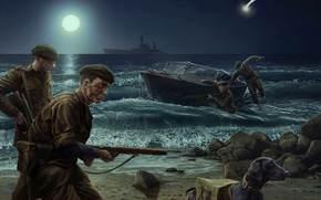 Игры: Солдаты, Ночь, Высадка, Берег моря, Луна, World of Tanks Generals