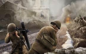 Игры: Война, Бой, Солдаты, Миномет, смотрит, World of Tanks Generals