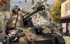 Игры: САУ, Немцы, Солдаты, Смотрит в бинокль, Бой, Война, World of Tanks Generals