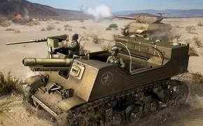 Игры: САУ, США, Танк, Солдаты, Пустыня, Выстрел, World of Tanks Generals