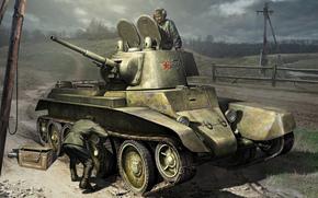 Игры: арт, Танкисты, БТ-7, Ремонтируют, Солдаты, World of Tanks Generals