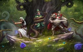 Игры: Trine_2, forest attack, archer, mage, knight, monster, magick, art