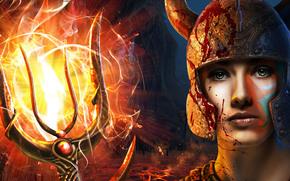 Фантастика: Neptune's Daughter, mutant girl squad, art, trident, fire, helmet, sea