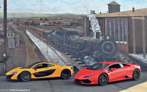 Машины: McLaren P1, Lamborghini Huracan, стена, рисунок, поезд, паровоз