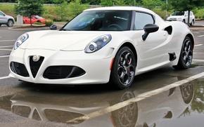 Машины: Alfa Romeo 4C, Alfa Romeo, автостоянка, лужи, отражение