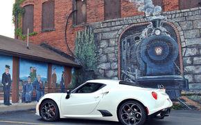 Машины: Alfa Romeo 4C, Alfa Romeo, стена, рисунок, паровоз