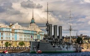 Корабли: Санкт-Петербург, Крейсер Аврора, крейсер, Аврора, Нахимовское военно-морское училище, Петроградская набережная, Большая Невка, река, набережная, музей, здание