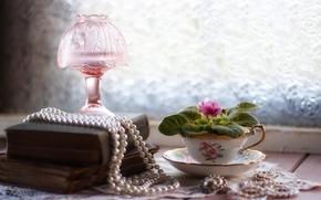 Разное: бусы, жемчуг, украшения, книги, лампа, цветок, сенполия, фиалка, чашка, винтаж, натюрморт