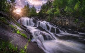 Пейзажи: Ringerike, Norway, Рингерике, Норвегия, водопад, каскад, река, скалы, камни, деревья