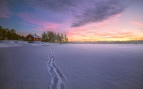 Пейзажи: Lake ?yangen, Ringerike, Norway, Рингерике, Норвегия, озеро, зима, снег, следы, дом