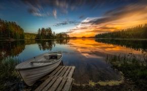Пейзажи: Aklangen, Ringerike, Norway, Рингерике, Норвегия, озеро, закат, лодка, деревья, отражение