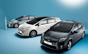Машины: Электромобиль, Тоёта, Приус, Toyota Prius, машина, чёрный, белый, зарядка, электричество, Япония, технологии