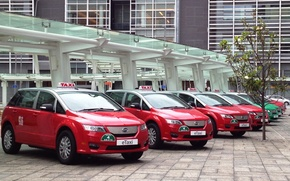 Машины: Электромобиль, красный, машина, такси, БИД, BYD, BYD Auto, Build Your Dreams, Китай, здание, технологии