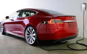 Машины: Электромобиль, красный, машина, технологии, зарядка, Тесла, Модель С, электромобиль, седан, Другие марки