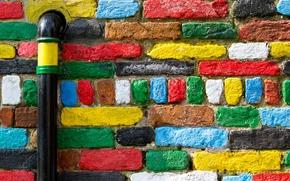 Текстуры: стена, кирпичи, разноцветные, труба