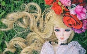Разное: игрушка, кукла, волосы, шляпка, цветы
