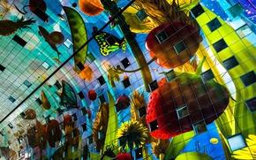 Разное: Markthal Rotterdam, Market Hall, Rotterdam, Netherlands, Роттердам, Нидерланды, архитектура, здание, фрукты, овощи